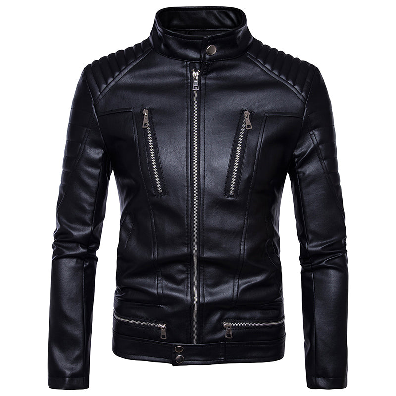 Men's Motorcycle Zip Leather Jacket