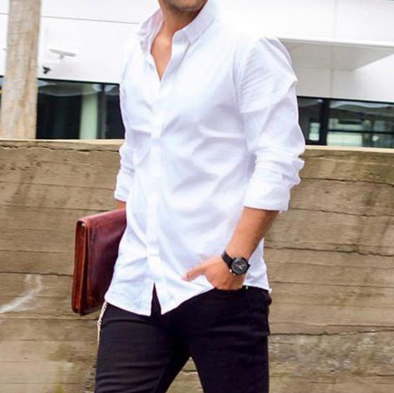 Solid Color Collar Pocket Long Sleeve Shirt