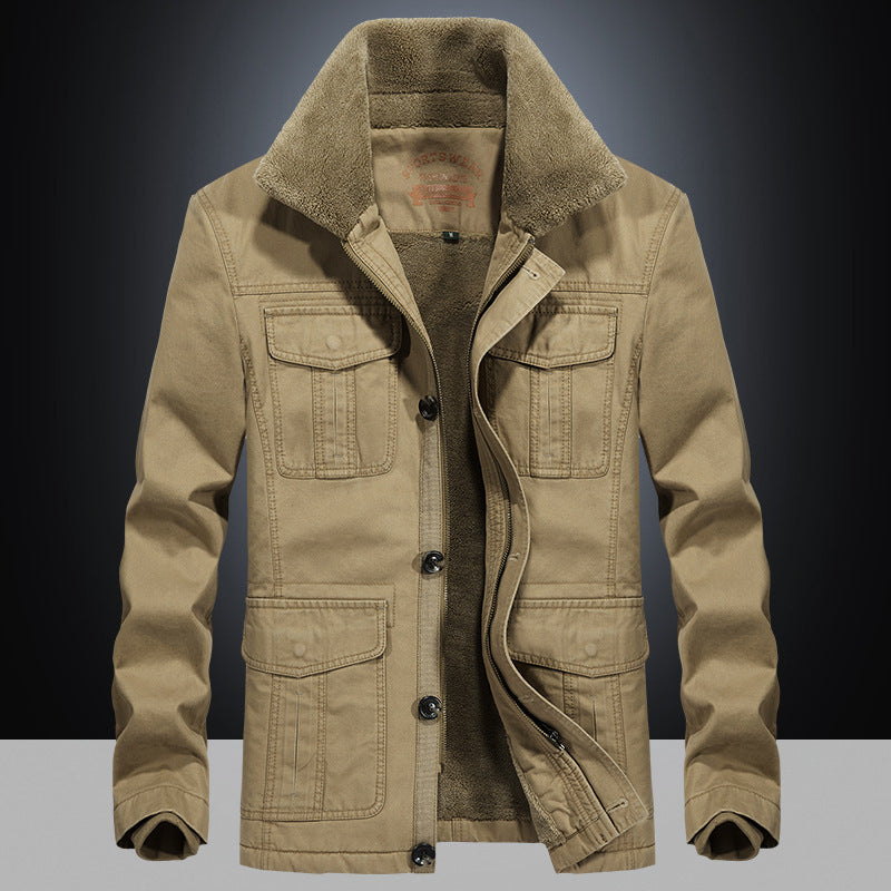 Multi-pocket Cotton Army style Men's Coat