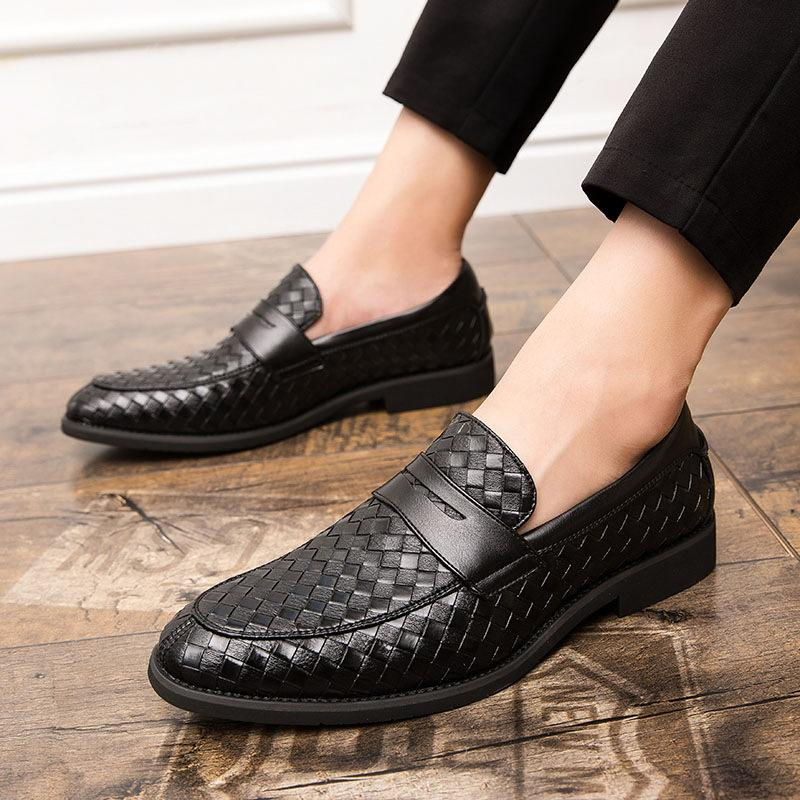 Men's Woven Pointed Business Slip-on Leather Shoes