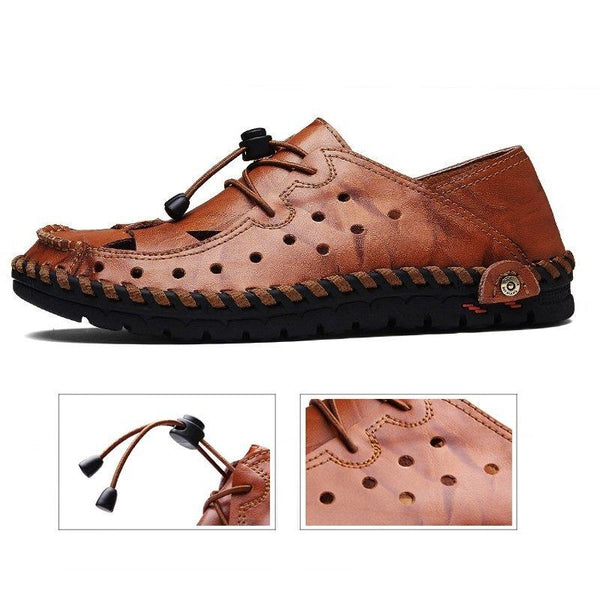 Breathable Hand Stitching Elastic Adjustable Laces Leather Sandals