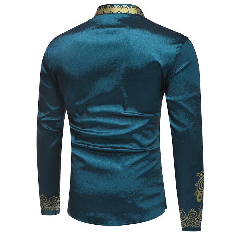 Men's Shirt Long-sleeved T-shirt National Print Bottoming Shirt