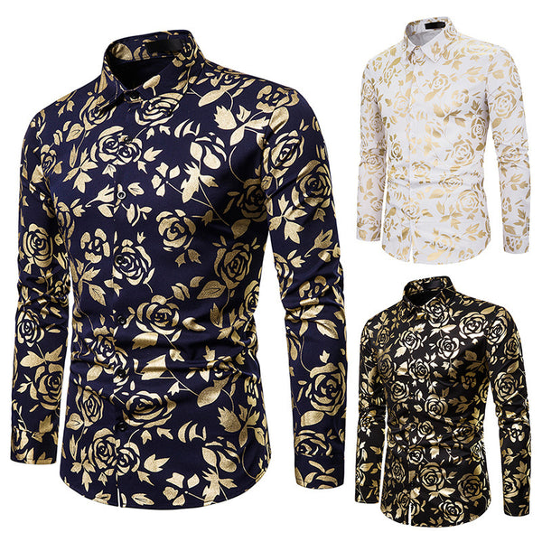 Lapel Rose Bronzing Printed Slim Long Sleeve Shirt