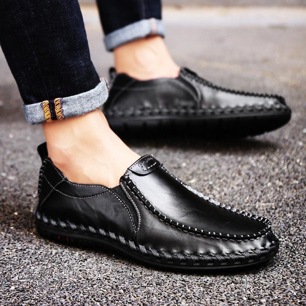 Men's Round Toe Leather Beanie Shoes