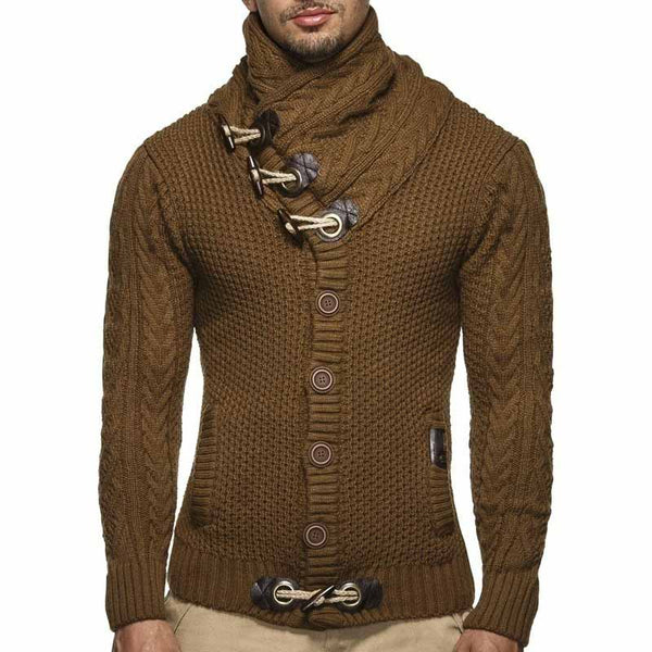 Simple High Collar Solid Color Button Men's Sweater
