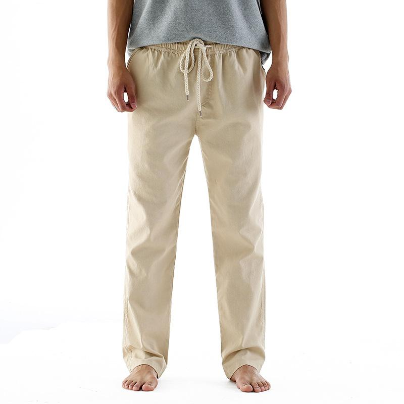 Mens Thin Linen Blend Breathable Solid Color Casual Straight Pants