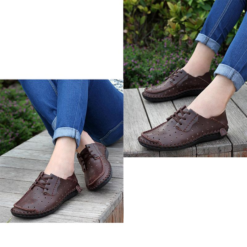 Fashion Hollow Breathable Leather Flats