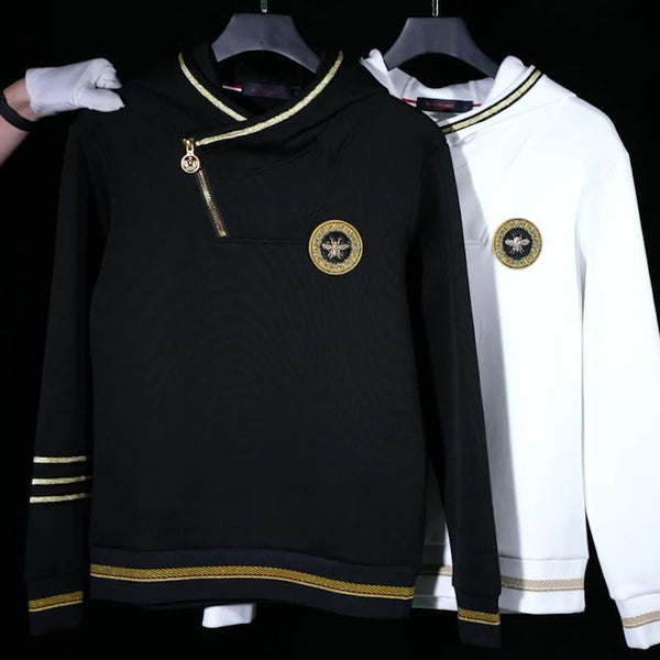 Trendy Long Sleeve Stitching Bee Emblem Hoodie