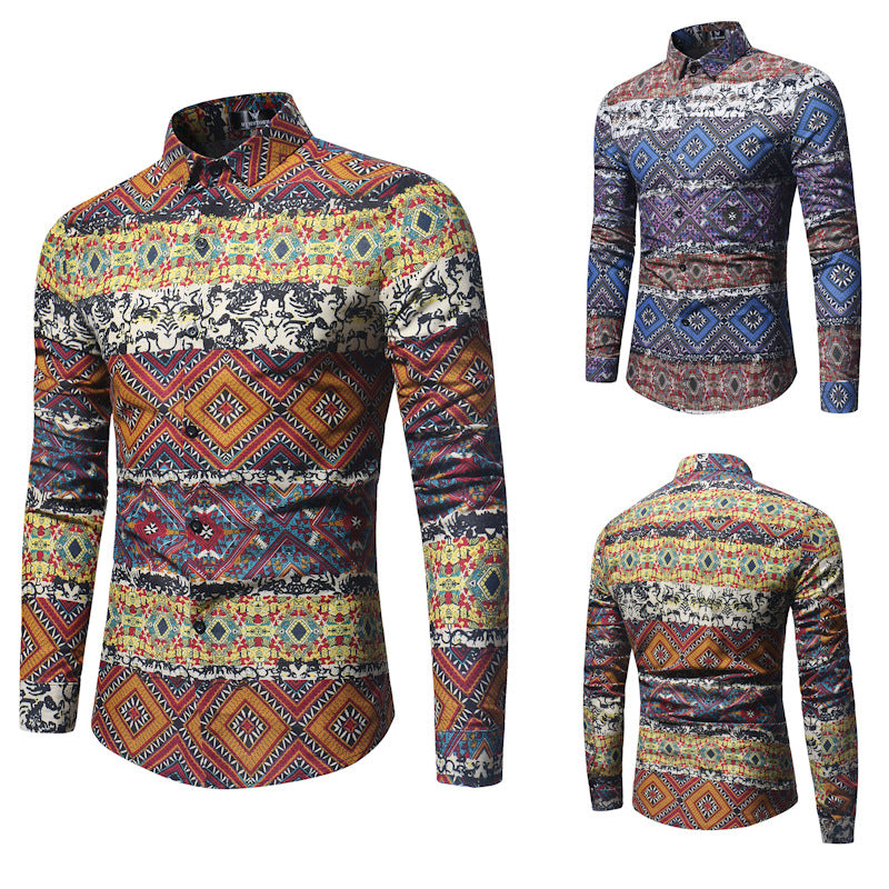 Korean Slim Long Sleeve Floral Shirt
