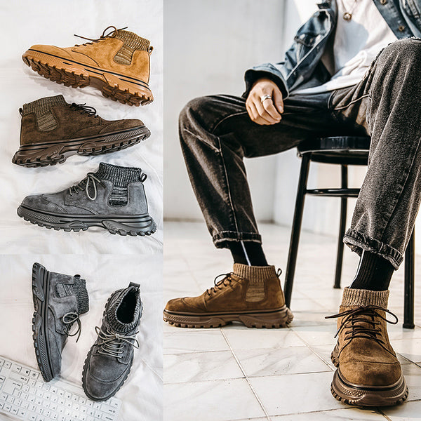 Casual Fashion Lace-up Martin Sock Boots