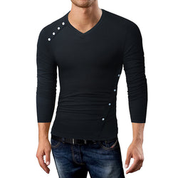 V-neck Button Long Sleeve T-shirt