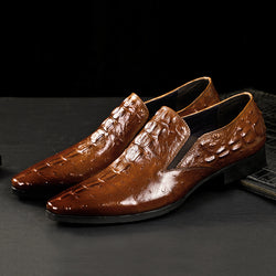 Autumn and Winter Crocodile Men's Business Dress Shoes-Brown