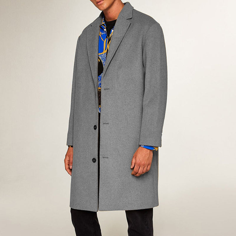 Pure Color Single-Breasted Long Coat