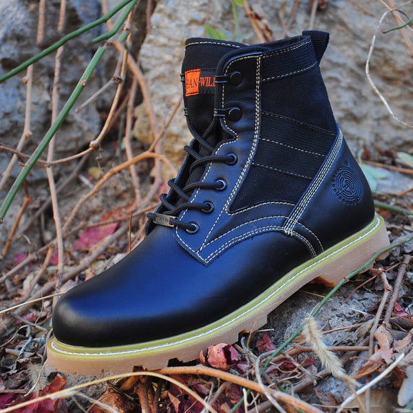 Men's High Ankle Canvas Mix Leather Military Boots