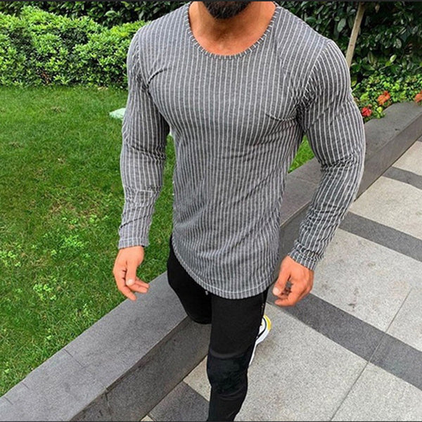 Long Sleeve Striped Round Neck Men's T-shirt