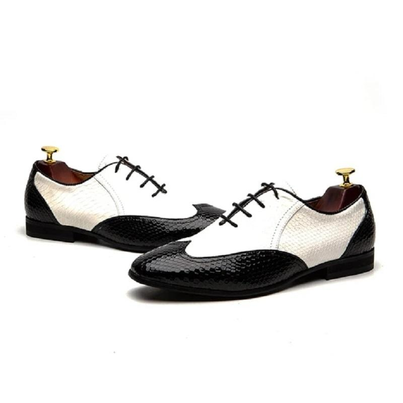 Men's Double Colors Textured Lace Up Leather Shoes