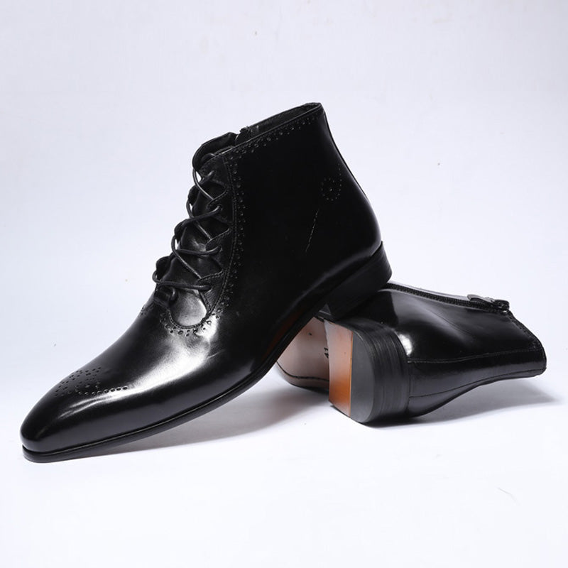 Leather High Top Zip Lace Up Men Ankle Boots