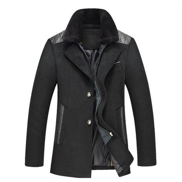 Mid-length Thick Fur Collar Fashion Casual Men's Warm Woolen Jacket
