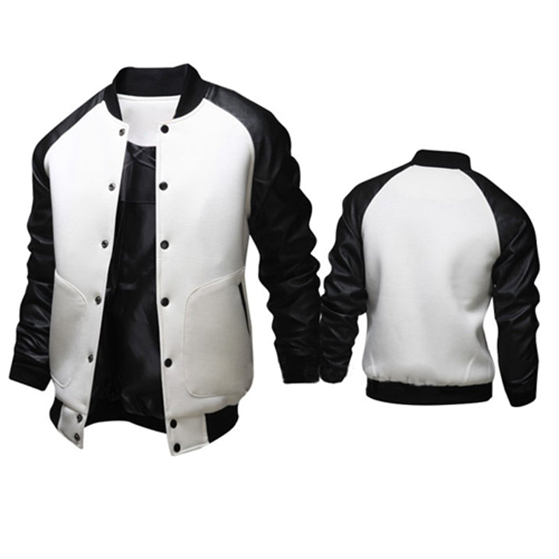 Large Pocket PU Leather Sleeve Baseball Jacket
