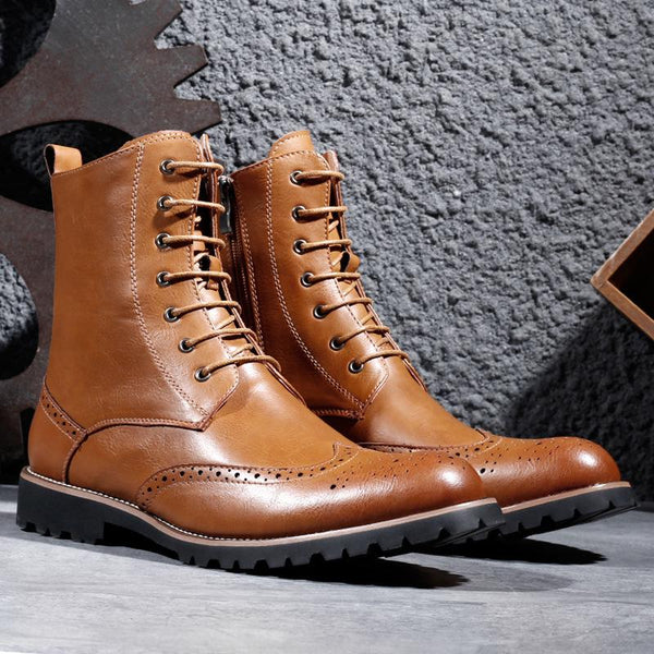 Autumn Winter Bullock Retro Men's Leather Boots