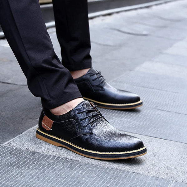Men's Soft PU Leather Lace-up Casual Shoes