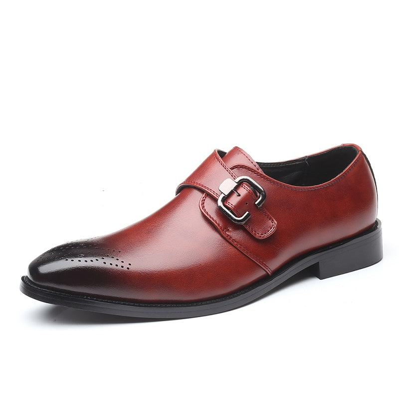 Men's Pointed Toe Single Monk Leather Shoes