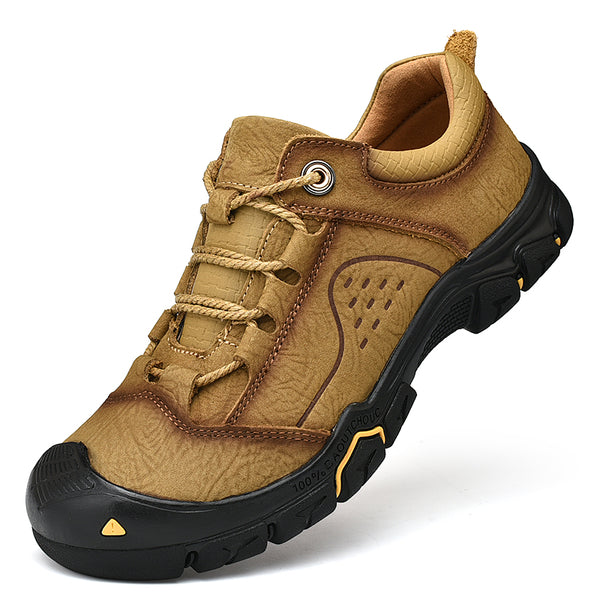 High Quality Outdoor Breathable Flat Leather Hiking Shoes