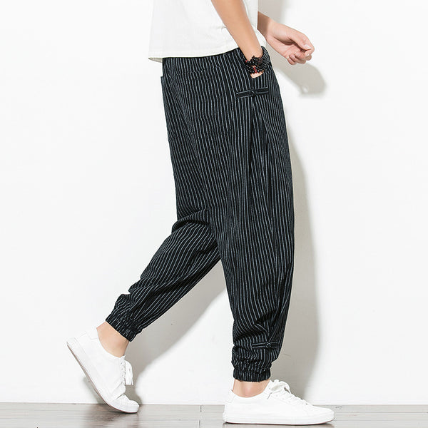 Thin Section Loose Striped Cropped Leggings