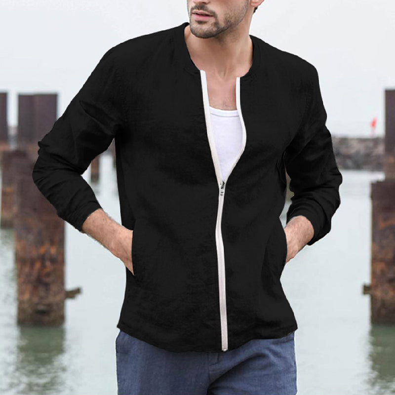 Solid Color Cotton Blend Zipper Jacket