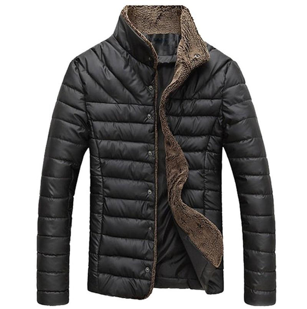 en Winter Jacket Warm Casual All-match Single Breasted Solid Men Coat Popular Coat Two Colors Size M-3XL MWM432