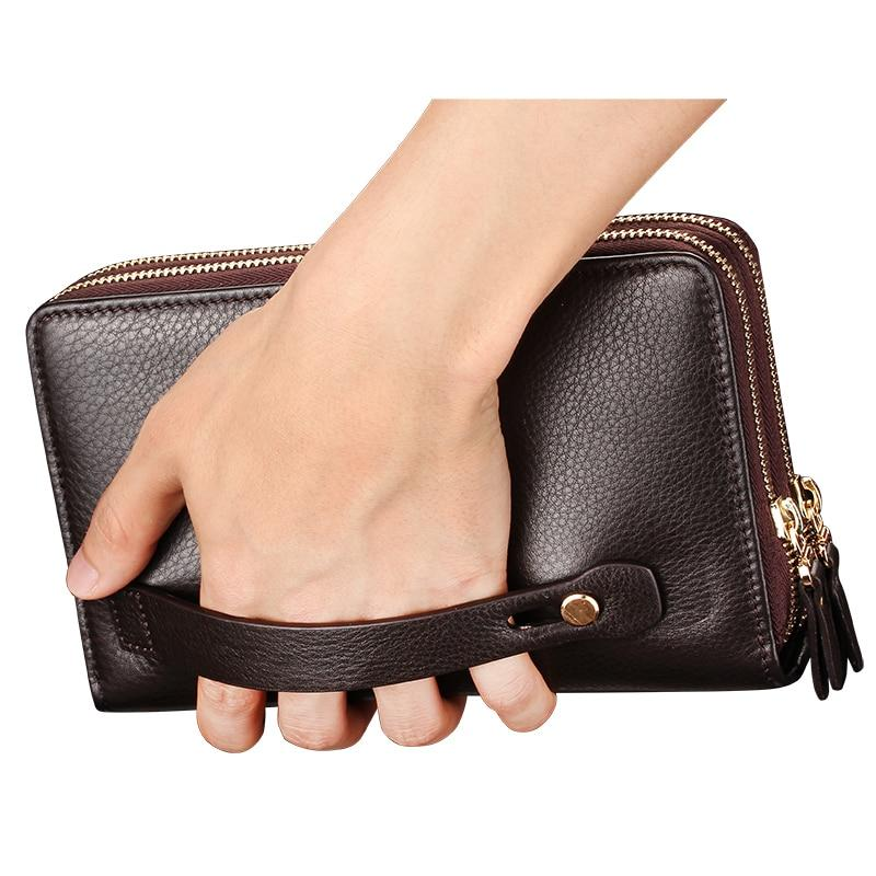 Double Zipper Men Clutch Handy Bag