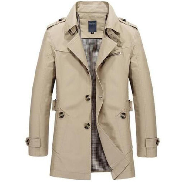 Fashion men are upscale in winter slim Fit Casual trench coat/male pure color Pure cotton long jackets