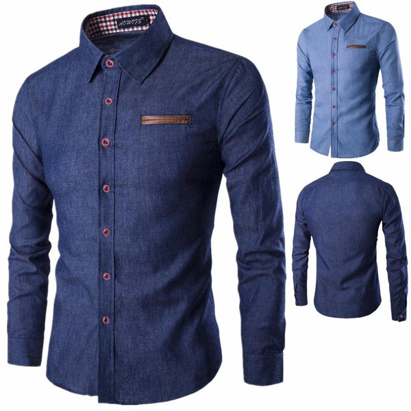 Fashion Men Shirt Long Sleeve Slim Fit Casual Male Shirts MC-016