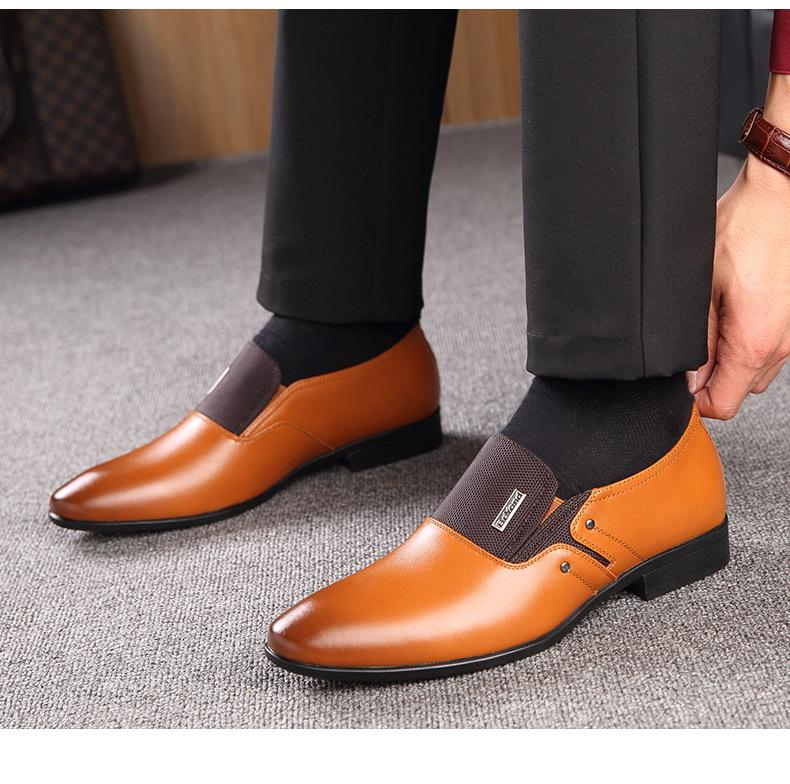Leather Pointed Toe Men Oxfords