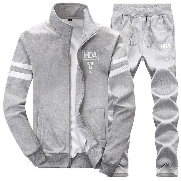 2 PCS Mens Cardigan Jacket+Pants Sportswear Men's Tracksuits
