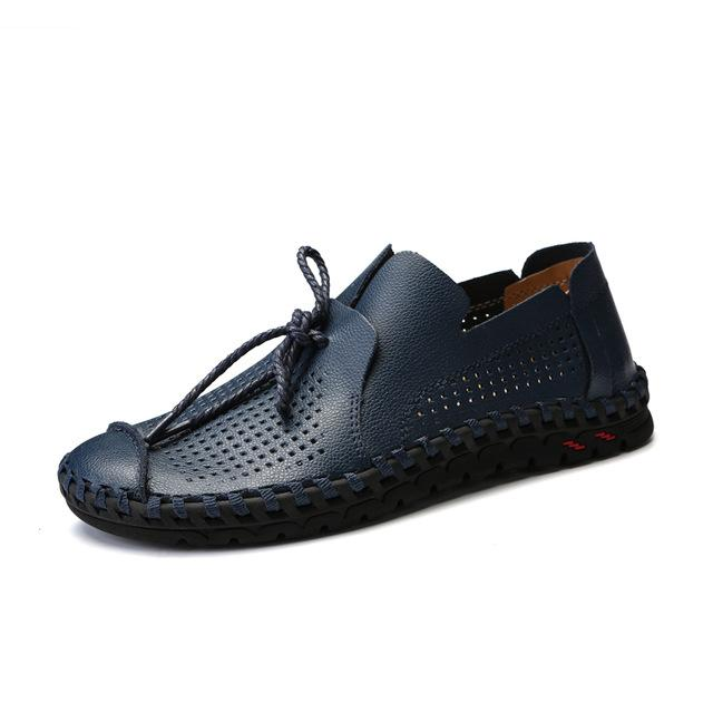 Men Leather Hollowed Breathable Loafer Shoes