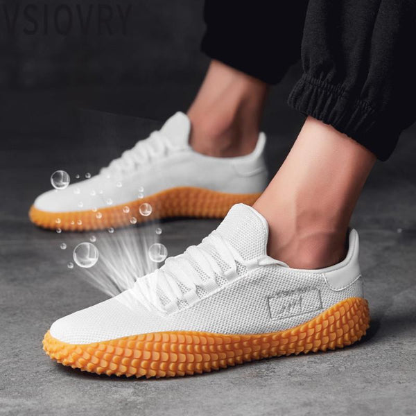 2018 New Summer Men's White Shoes Mesh Breathable Men Casual Shoes Fly Weave Sneakers Spring Autumn Black Red Male Shoes