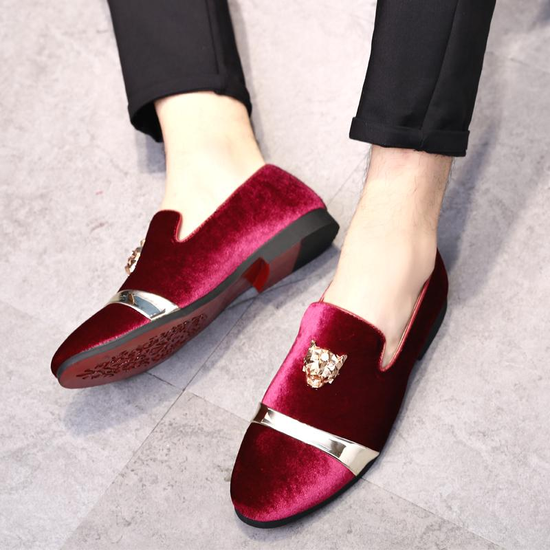 EU38-48 Handmade Velvet Men Casual Shoes Italian Mens Dress Shoes Nubuck Leather Loafers Slip On Casual Driving Red Flat Male