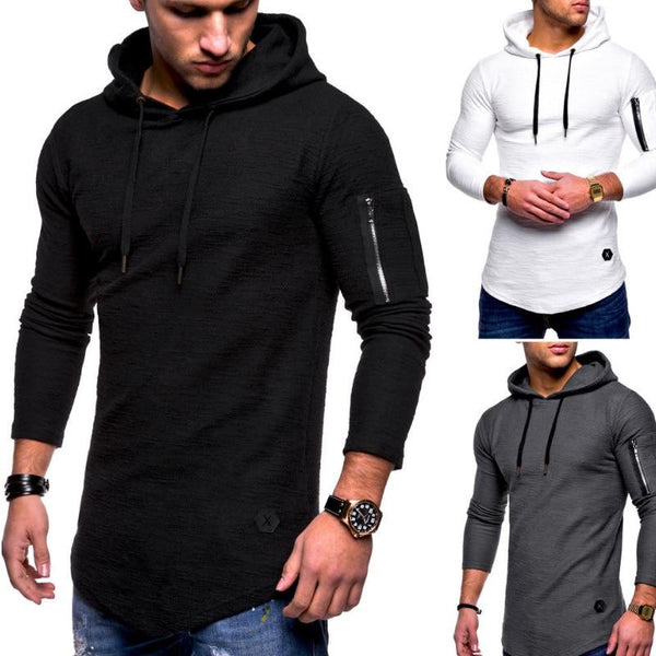 Autumn New Fashion Mens Hoodies Brand Men Solid Color Hooded Sling Sweatshirt Mens Hoodie Hip Hop Hoodie XXXL