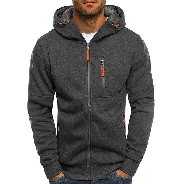 New Fashion Men's Hoodies Tracksuit Casual Drawstring Solid Color Long Sleeve Sweatshirt Male Zipper Slim Plus Size Hoodie