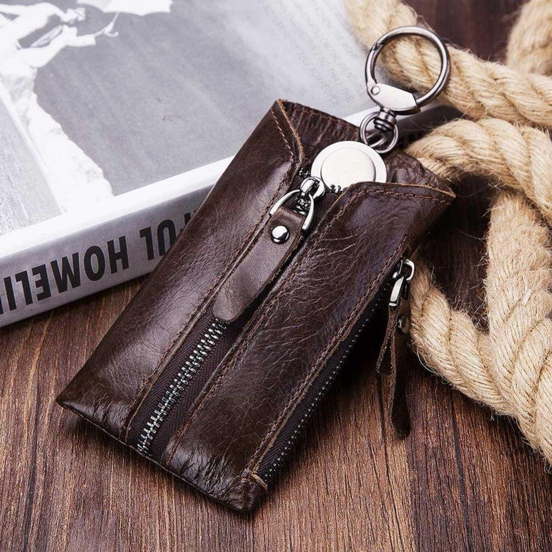 Genuine Leather Housekeeper Key Wallet Smart Car Bag Pouch Ring Wrap Fo Organizer Case Man With Coin Card Holder Keychain