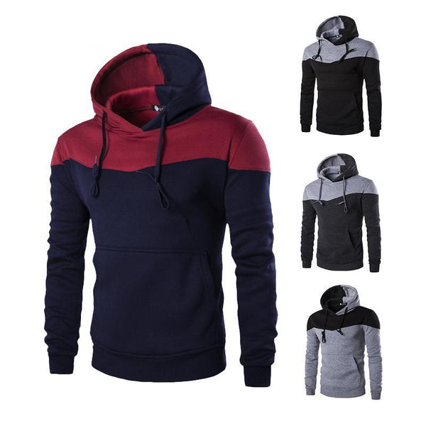 Fashion Men Slim Hoodies 2018 Autumn Hooded Sweatshirt Coat Male Winter Outwear Sportswear Patchwork Sweatshirt Casual Tracksuit