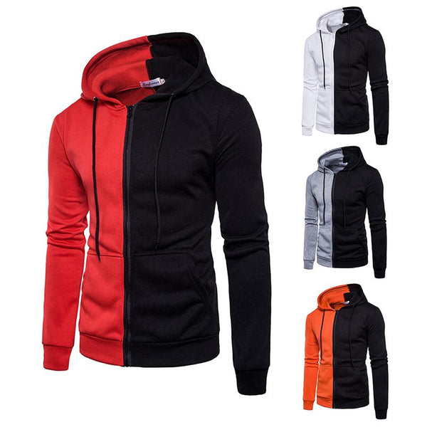 Men Hoodies Autumn Hooded Patchwork Sweatshirt