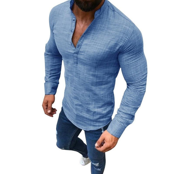 Men  Linen Long Sleeve V-Neck Shirt