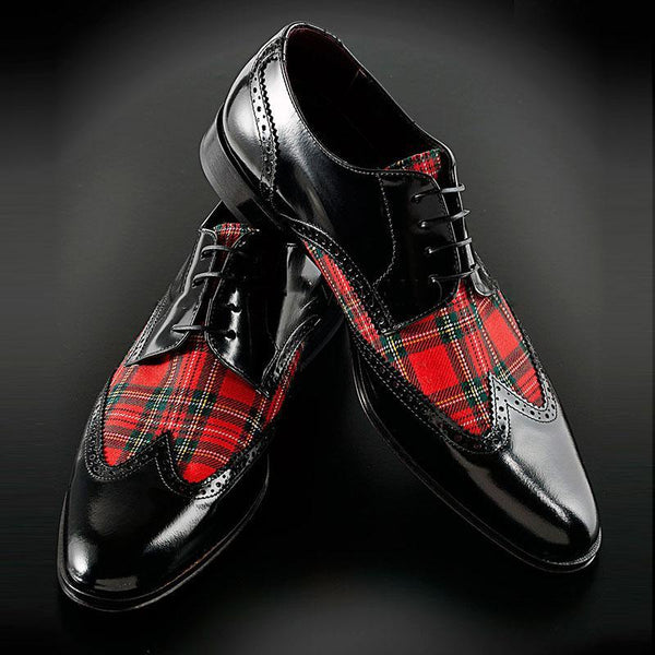 Plaid Patchwork Wingtip Formal Shoes
