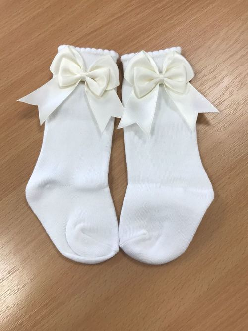 Mintini Baby Cream Bow Socks