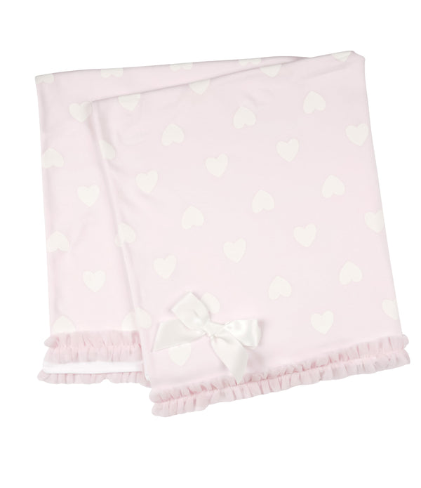 MB2854 (25% OFF) | Super Soft 100% Cotton Pink Baby Shawl with Love Hearts