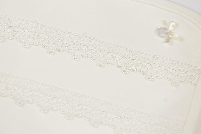 MB2863 | Cotton Ivory White Newborn Shawl with Detailed Floral Lace Pattern