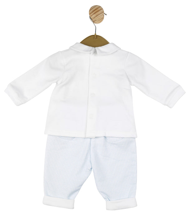 MB3109 (20% OFF) | Boys Blue and White Cotton Top and Trouser set