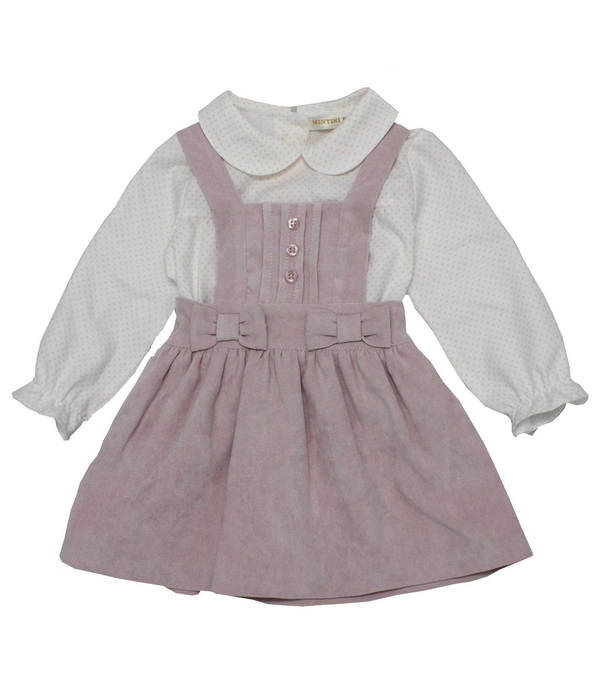 MB3089 | Girls Pink Velour Pinafore and Bows with White Dotted Shirt